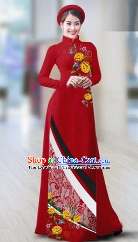 Traditional Top Grade Asian Vietnamese Costumes Classical Printing Full Dress Dance Cothing, Vietnam National Ao Dai Dress Catwalks Debutante Wine Red Qipao for Women