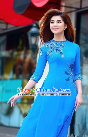 Traditional Top Grade Asian Vietnamese Costumes Classical Manual Embroidery Full Dress, Vietnam National Ao Dai Dress Blue Cheongsam for Women