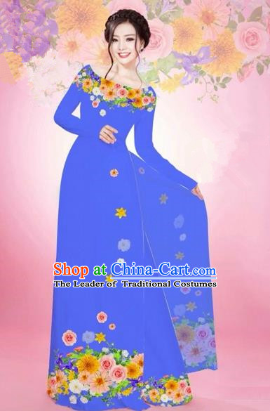 Traditional Top Grade Asian Vietnamese Costumes Classical Printing Flowers Bride Off Shoulder Full Dress, Vietnam National Ao Dai Dress Blue Chiffon Cheongsam for Women