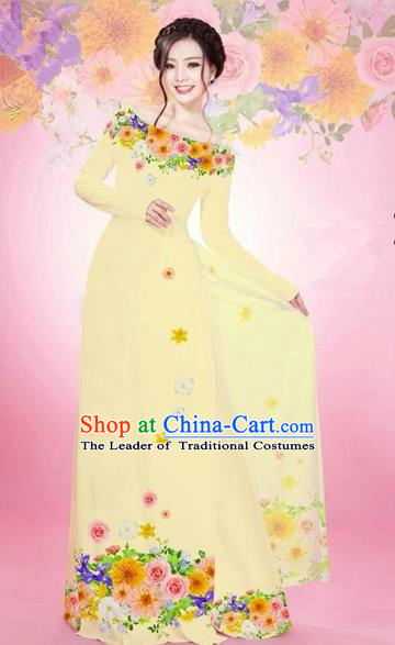 Traditional Top Grade Asian Vietnamese Costumes Classical Printing Flowers Bride Off Shoulder Full Dress, Vietnam National Ao Dai Dress Beige Chiffon Cheongsam for Women