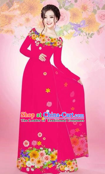 Traditional Top Grade Asian Vietnamese Costumes Classical Printing Flowers Bride Off Shoulder Full Dress, Vietnam National Ao Dai Dress Rosy Chiffon Cheongsam for Women