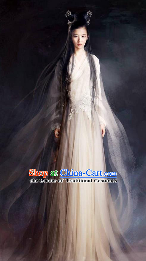 Traditional Chinese Ancient Shang Dynasty Fairy Peri Costume and Headwear, China Mythology Television Zhao Ge Ancient Swordsman Clothing Complete Set for Women