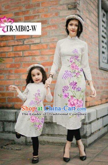 Traditional Top Grade Asian Vietnamese Costumes Classical Printing Cheongsam, Vietnam National Ao Dai Dress Parent-child Grey Full Dress for Women for Kids