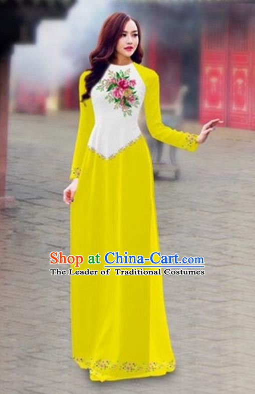 Traditional Top Grade Asian Vietnamese Costumes Classical Color Matching Cheongsam, Vietnam National Ao Dai Dress Printing Yellow Full Dress for Women