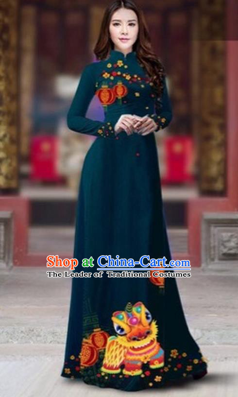 Traditional Top Grade Asian Vietnamese Costumes Classical Printing New Year Cheongsam, Vietnam National Ao Dai Dress Princess Peacock Blue Full Dress for Women
