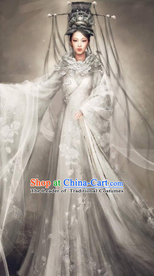 Traditional Chinese Ancient Shang Dynasty Imperial Princess Dance Costume, China Mythology Television Zhao Ge Ancient Palace Lady Clothing and Headwear Complete Set for Women