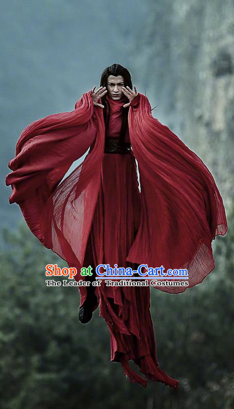 Traditional Chinese Ancient Shang Dynasty Swordsman Costume, China Mythology Television Zhao Ge Ancient Kawaler Clothing Complete Set for Men