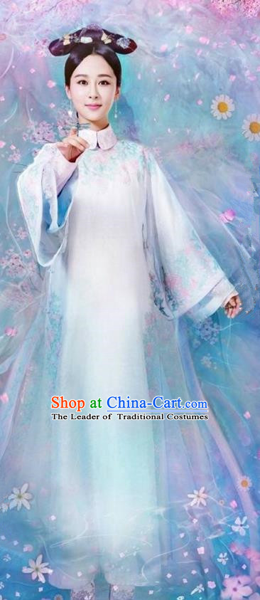 Traditional Ancient Chinese Qing Dynasty Imperial Princess Costume, Chinese Manchu Mandarin Palace Lady Clothing and Handmade Headpiece Complete Set for Women