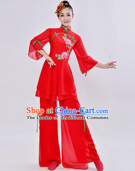 Traditional Chinese Classical Dance Yangge Fan Dancing Costume, Folk Dance Drum Dance Flared Uniforms Yangko Red Clothing for Women