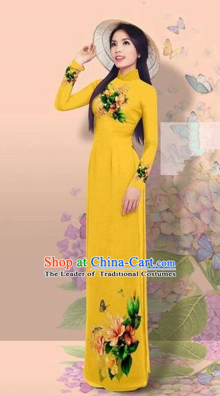 Traditional Top Grade Asian Vietnamese Costumes Classical 3D Printing Cheongsam, Vietnam National Vietnamese Young Lady Miss Etiquette Ginger Ao Dai Dress