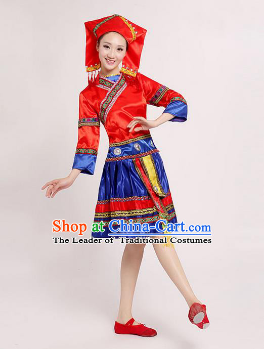 Traditional Chinese Zhuang Nationality Dancing Costume, Zhuang Zu Female Folk Dance Ethnic Pleated Skirt, Chinese Minority Nationality Embroidery Red Dress for Women