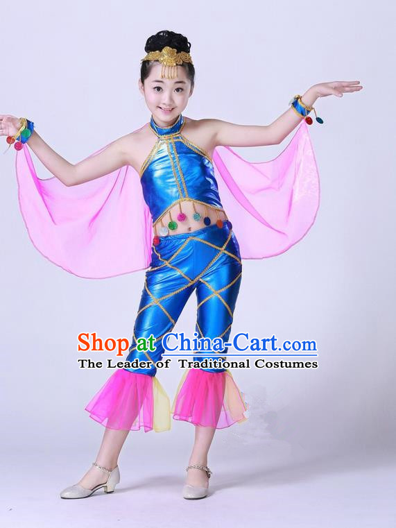 Top Grade Professional Compere Modern Dance Costume, Children Opening Dance Chorus Fish Dance Uniforms Blue Clothing Complete Set for Girls