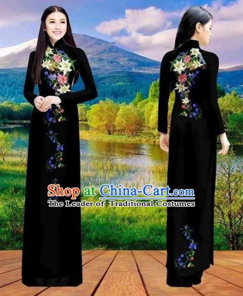 Traditional Top Grade Asian Vietnamese Costumes Classical Double-sided Printing Cheongsam, Vietnam National Vietnamese Princess Bride Black Ao Dai Dress Dance Clothing