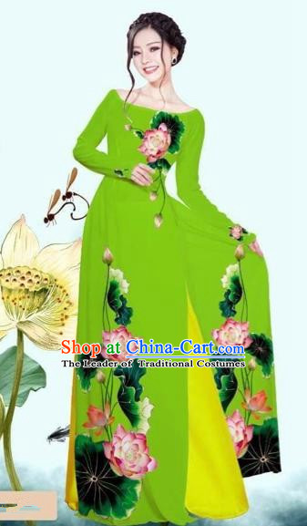 Traditional Top Grade Asian Vietnamese Costumes Classical Printing Lotus Green Cheongsam, Vietnam National Vietnamese Princess Bride Off Shoulder Ao Dai Dress