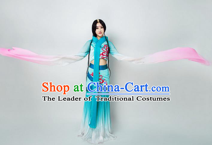 Traditional Chinese Ancient Princess Dance Costume, Women Flying Dance Water Sleeve Clothing, Umbrella Dance Blue Dress for Women