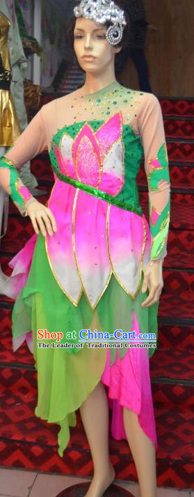 Traditional Chinese Classical Dance Costume, Women Lotus Dance Clothing, Umbrella Dance Green Dress for Women