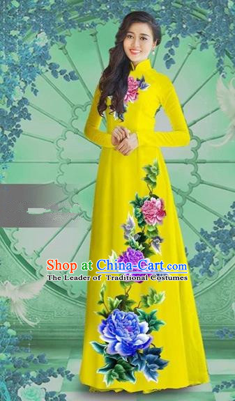 Traditional Top Grade Asian Vietnamese Costumes Classical Printing Yellow Chiffon Cheongsam, Vietnam National Vietnamese Bride Ao Dai Dress