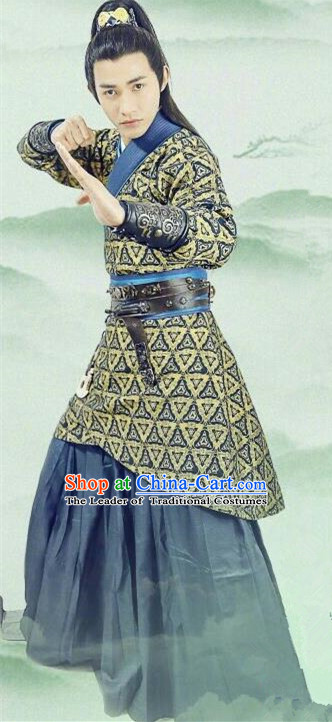 Traditional Chinese Ancient Warring States Time Palace Nobility Childe Costume, China Television Song of Phoenix Swordsman Clothing and Headwear Complete Set for Men