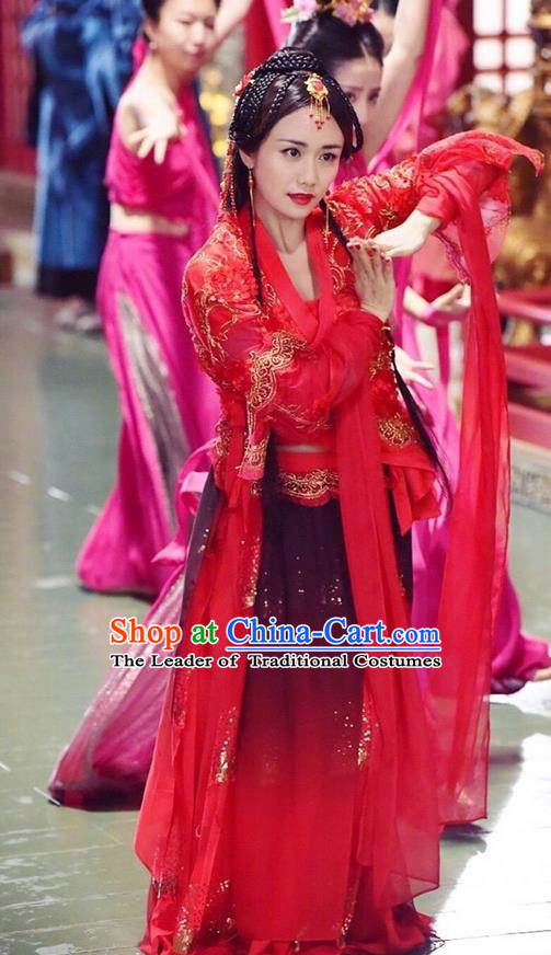 Traditional Chinese Ancient Warring States Time Shyama Princess Costume, China Television Song of Phoenix Imperial Consort Hanfu Dance Clothing and Headwear Complete Set