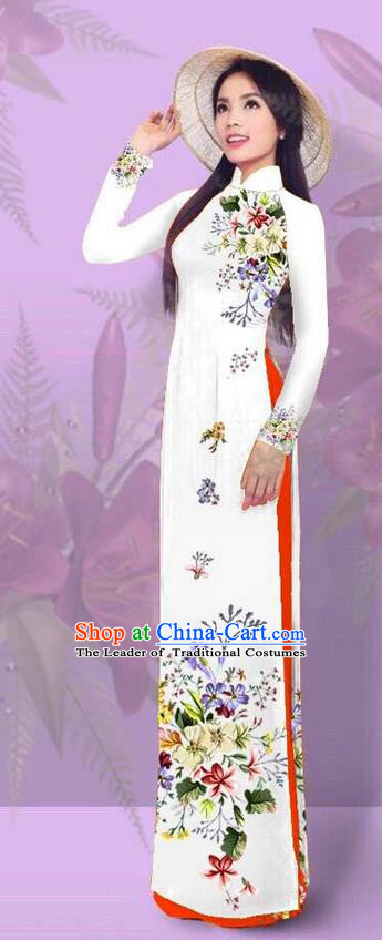 Top Grade Asian Vietnamese Costumes Classical Jing Nationality Printing White Cheongsam, Vietnam National Vietnamese Traditional Princess Ao Dai Dress for Women