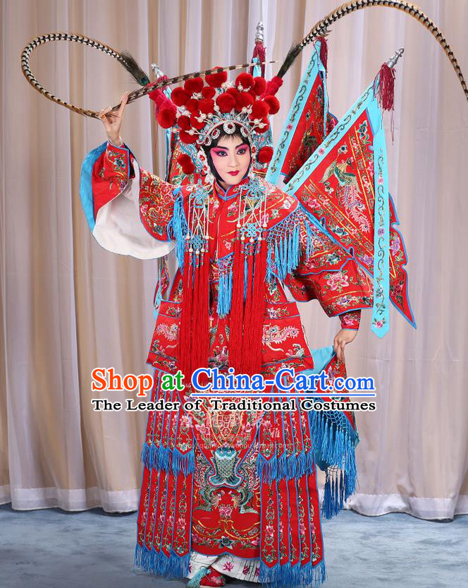 Traditional Chinese Beijing Opera Magic Warriors Red Clothing and Shoes Complete Set, China Peking Opera Blues Costume Embroidered Robe Opera Costumes