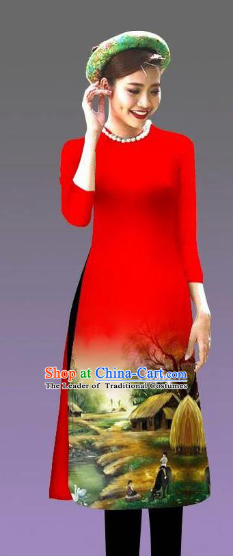 Top Grade Asian Vietnamese Costumes Classical Jing Nationality Landscape Painting Cheongsam, Vietnam National Vietnamese Bride Traditional Princess Red Ao Dai Dress