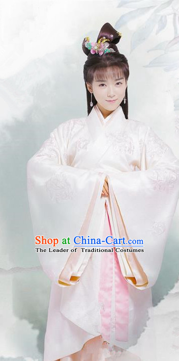 Traditional Chinese Ancient Warring States Time Imperial Consort Tailing Costume, Song of Phoenix Palace Princess Hanfu Clothing and Handmade Headpiece Complete Set for Women