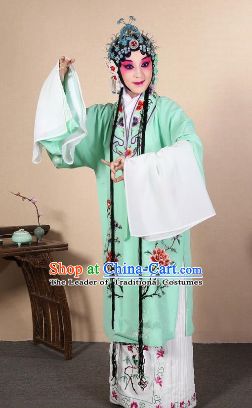 Traditional Chinese Beijing Opera Huangmei Opera Female Green Clothing and Headwear Complete Set, China Peking Opera Diva Role Hua Tan Costume Embroidered Opera Costumes