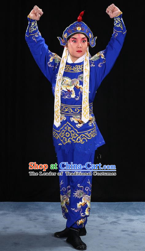 Traditional Chinese Beijing Opera Takefu Blue Clothing Complete Set, China Peking Opera Martial Role Costume Embroidered Opera Costumes