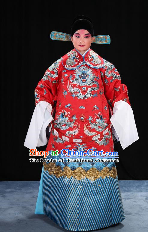 Traditional Chinese Beijing Opera Male Red Clothing and Belts Complete Set, China Peking Opera His Royal Highness Costume Embroidered Robe Dragon robe Opera Costumes