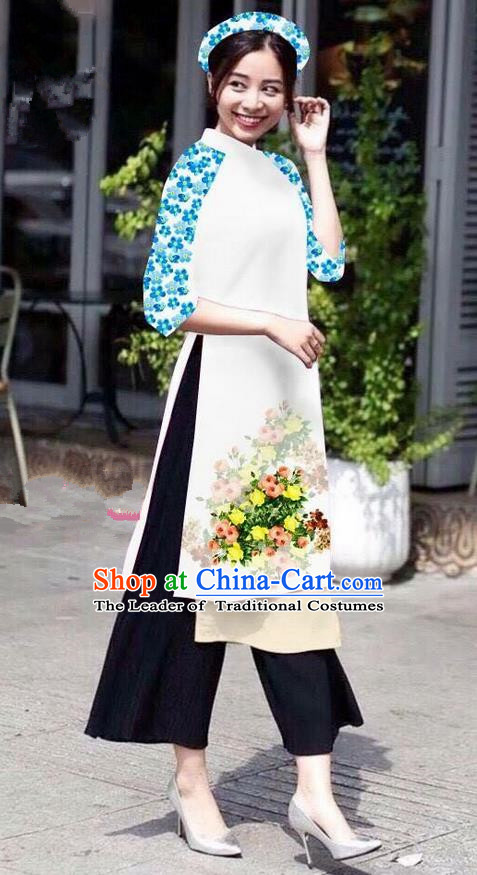 Traditional Top Grade Asian Vietnamese Jing Nationality Classical Ao Dai Dress, Vietnam National Bride Printing White Short Cheongsam Costumes for Women