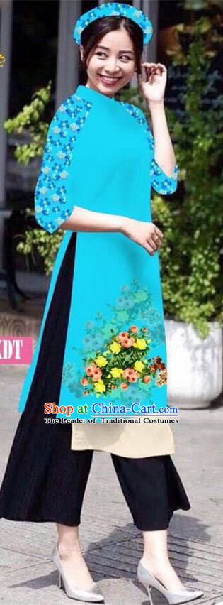 Traditional Top Grade Asian Vietnamese Jing Nationality Classical Ao Dai Dress, Vietnam National Bride Printing Peacock Blue Short Cheongsam Costumes for Women