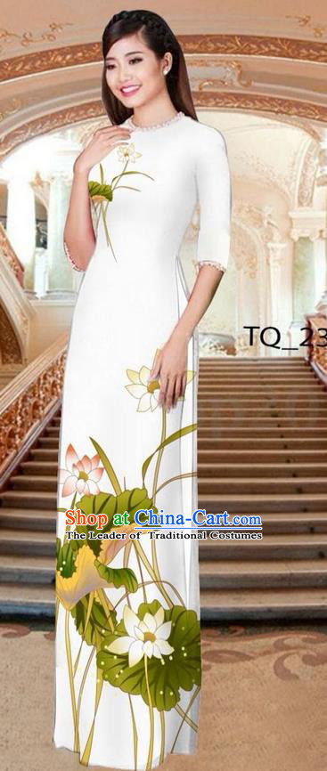Traditional Top Grade Asian Vietnamese Ha Festival Long White Ao Dai Dress, Vietnam National Jing Nationality Printing Lotus Cheongsam Costumes for Women