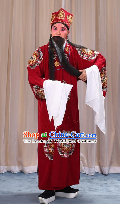 Traditional Chinese Beijing Opera Old Male Landlord Wine Red Clothing and Headwear Boots Complete Set, China Peking Opera Laosheng-role Costume Ministry Councillor Embroidered Clothing Opera Costumes