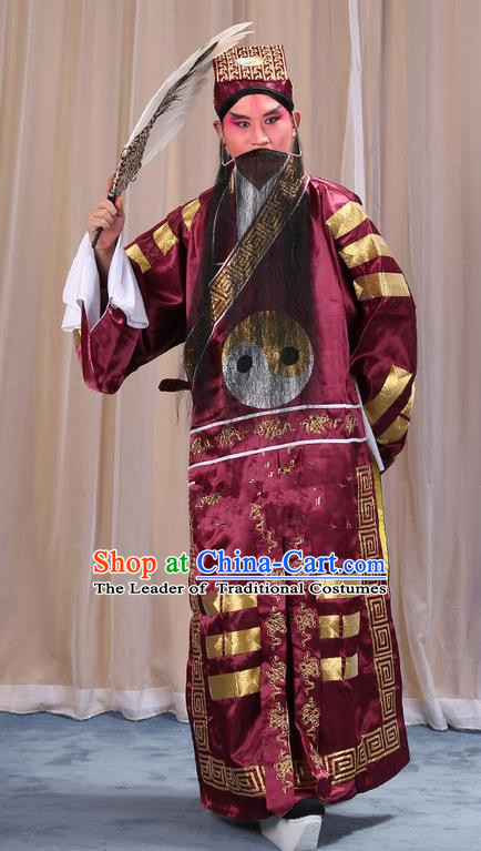 Traditional Chinese Beijing Opera Red Eight Diagrams Clothing and Boots Feather Fan Complete Set, China Peking Opera Zhuge Liang Costume Embroidered Military Counsellor Robe Opera Costumes