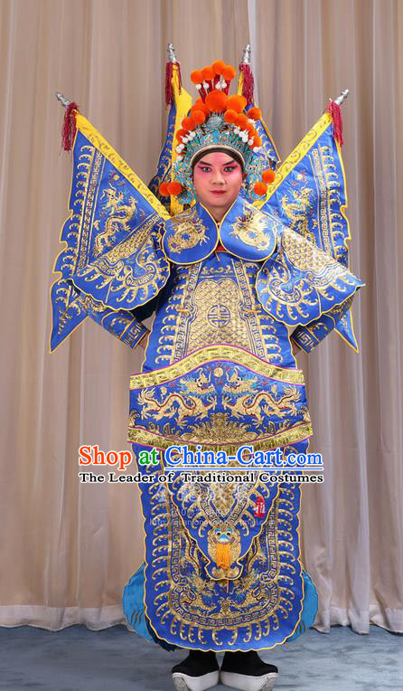 Traditional Chinese Beijing Opera Military Officer Armour Blue Clothing and Boots Complete Set, China Peking Opera Martial General Role Costume Embroidered Opera Costumes