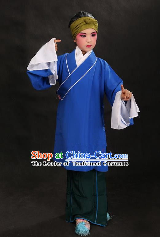 Traditional Chinese Beijing Opera Old Female Blue Clothing and Shoes Complete Set, China Peking Opera Children Pantaloon Costume Embroidered Clothing Opera Costumes for Kids
