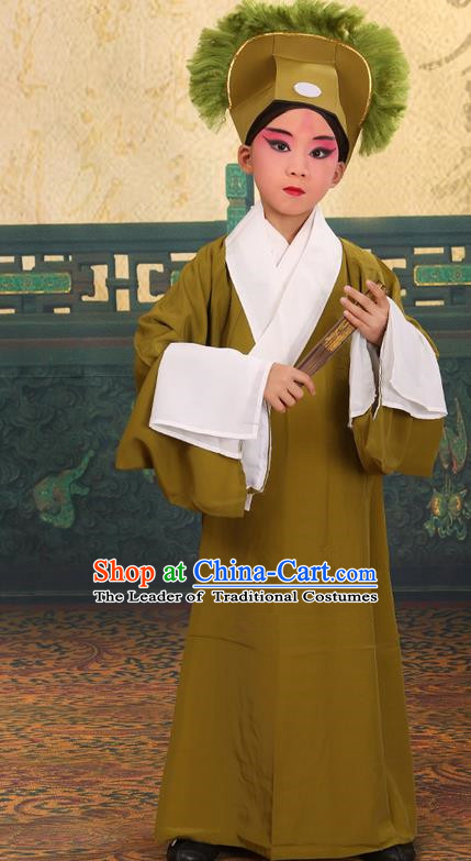 Traditional Chinese Beijing Opera Children Scholar Shadow Green Clothing and Headwear Shoes Complete Set, China Peking Opera Young Man Costume Xu Xian Robe Opera Costumes for Kids