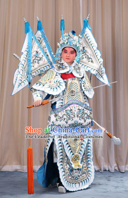 Traditional Chinese Beijing Opera Takefu Green Armour White Clothing and Boots Complete Set, China Peking Opera Martial General Role Costume Embroidered Opera Costumes