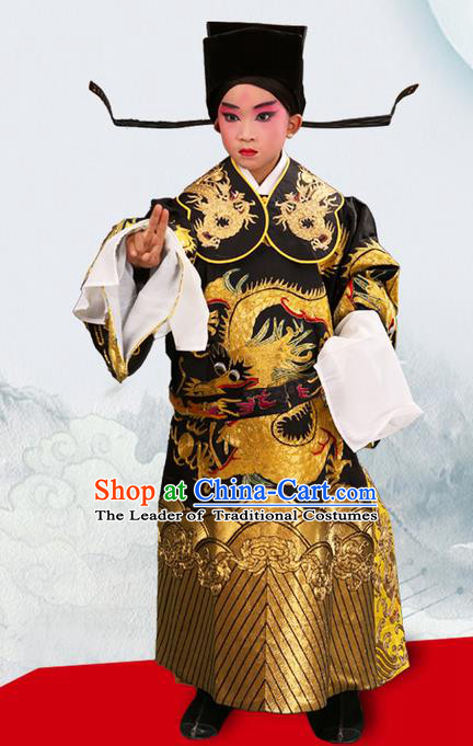 Traditional Chinese Beijing Opera Male Black Clothing and Headwear Boots Complete Set, China Peking Opera Bao Zheng Costume Embroidered Robe Opera Costumes for Kids