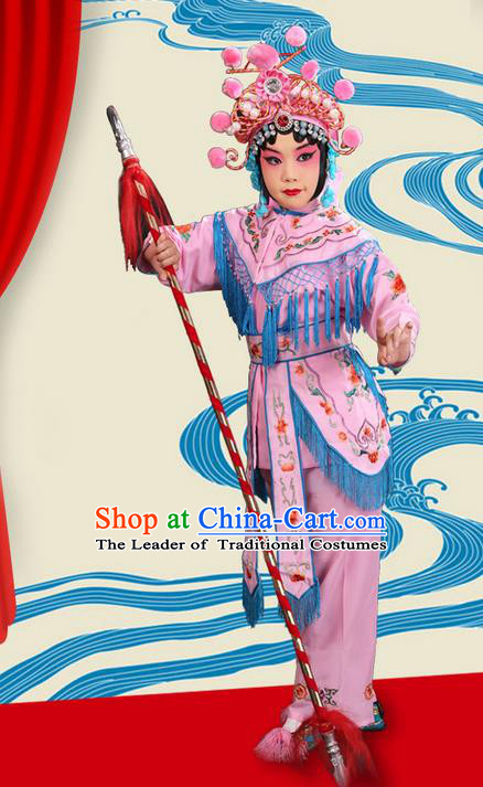 Traditional Chinese Beijing Opera Magic Warriors Pink Clothing and Headwear Shoes Complete Set, China Peking Opera Women Pawn Dress Costume Embroidered Opera Costumes for Kids