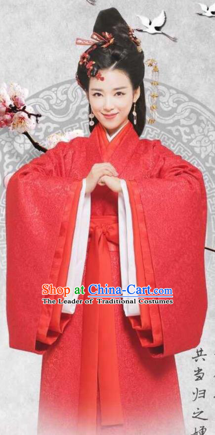 Traditional Chinese Ancient Warring States Time Imperial Consort Costume, Song of Phoenix Chu State Imperial Concubine Hanfu Clothing and Handmade Headpiece Complete Set for Women