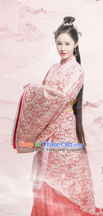Traditional Chinese Ancient Warring States Time Imperial Princess Costume, Song of Phoenix Chu State Palace Lady Hanfu Embroidered Clothing and Handmade Headpiece Complete Set