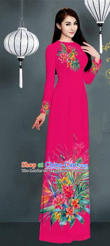 Traditional Top Grade Asian Vietnamese Ha Festival Printing Model Ao Dai Dress, Vietnam National Jing Nationality Rosy Cheongsam Costumes for Women