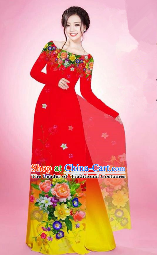 Traditional Top Grade Asian Vietnamese Ha Festival Printing Flowers Red Ao Dai Dress, Vietnam National Jing Nationality Off Shoulder Cheongsam Costumes for Women
