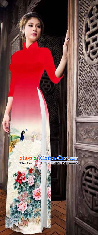 Traditional Top Grade Asian Vietnamese Ha Festival Printing Peony Red Ao Dai Dress, Vietnam National Jing Nationality Princess Cheongsam Costumes for Women