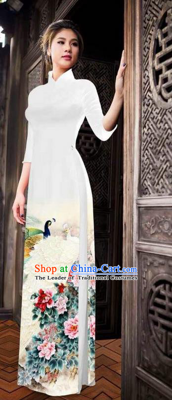 Traditional Top Grade Asian Vietnamese Ha Festival Printing Peony White Ao Dai Dress, Vietnam National Jing Nationality Princess Cheongsam Costumes for Women
