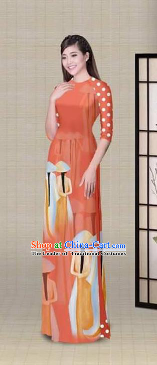 Traditional Top Grade Asian Vietnamese Ha Festival Printing Orange Ao Dai Dress, Vietnam National Jing Nationality Princess Cheongsam Costumes for Women