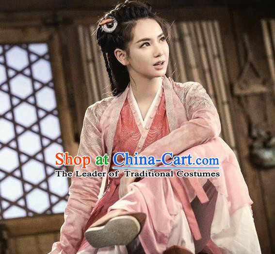 Traditional Chinese Ancient Ming Dynasty Landlady Costumes and Handmade Headpiece Complete Set, New Dragon Gate Inn Female Boss Jin Xiangyu Hanfu Clothing