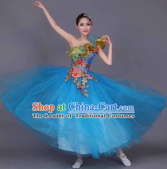 Top Grade Compere Professional Performance Costume, Chorus Formal Dress Modern Dance Blue Bubble Dress for Women